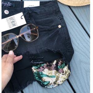 Distressed Stretch Black Sequins Camo Shorts